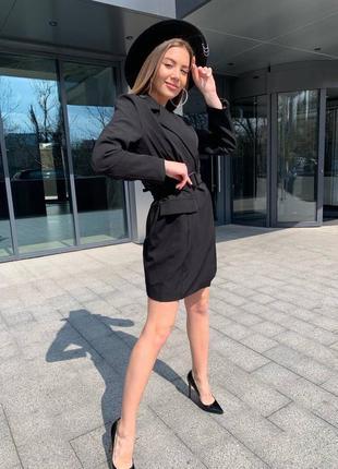 Женское платье пиджак с поясом6 фото