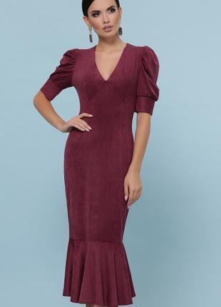 Бордовое платье из замши длинное сукня із замша довге бордове экозамш