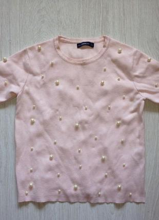 Шикарная блуза с жемчугом от zara