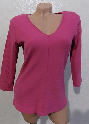 Кофта джемпер розовая в рубчик фирменная marks&spencer размер 48-50
