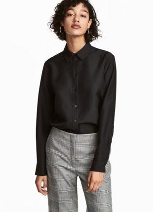 Рубашка шелковая чёрная приталенная