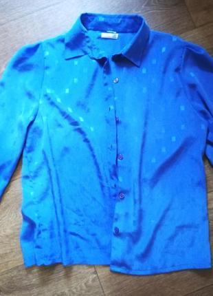 Рубашка блузка блуза кофта женская винтажная голубая длинный рукав
