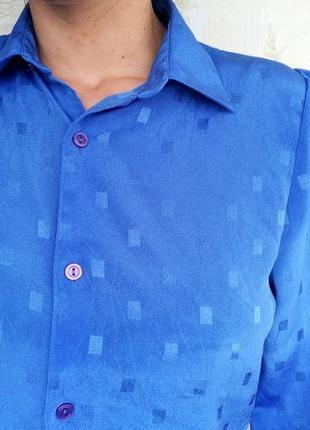 Рубашка блузка блуза кофта женская винтажная голубая длинный рукав3 фото