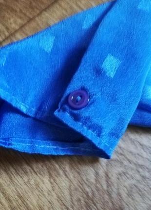 Рубашка блузка блуза кофта женская винтажная голубая длинный рукав6 фото