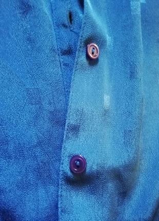 Рубашка блузка блуза кофта женская винтажная голубая длинный рукав7 фото