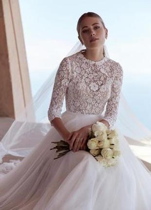 Свадебное платье бохо а-силуэта с рукавом 3/4 с закрытой спиной