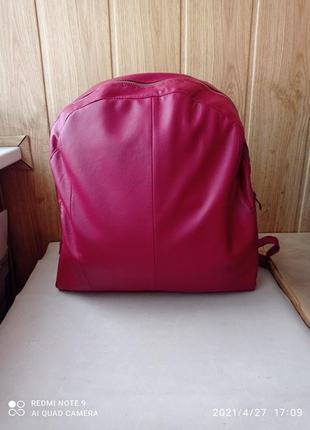 Классный яркий новый кожаный рюкзак хендмейд