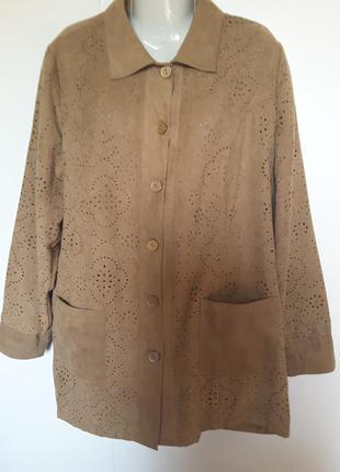 Куртка-рубашка из иск.замши с перфорацией (батал)