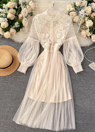 Свадебное платье из фатина с элементами кружева, воздушное молочное платье для торжества