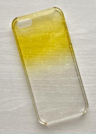 Чехол прозрачный желтый чохол на для айфон iphone 5 s se плюс силиконовый