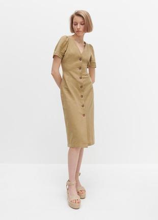 Крутое лляное платье на пуговицах reserved серия premium, размер 48