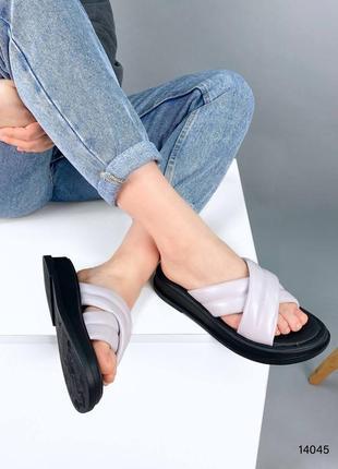 Шлепки женские кожаные, лаванда, натуральная кожа5 фото
