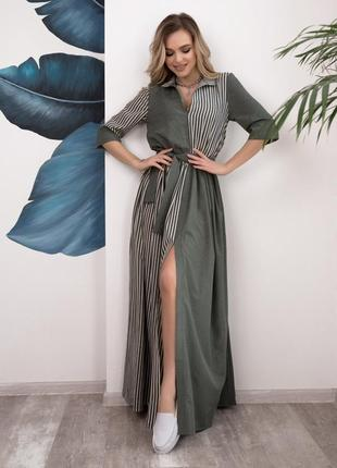 Длинное платье с комбинированным принтом