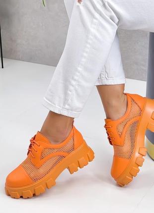 Броги туфли летние сетка и эко кожа оранжевые2 фото