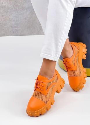 Броги туфли летние сетка и эко кожа оранжевые4 фото
