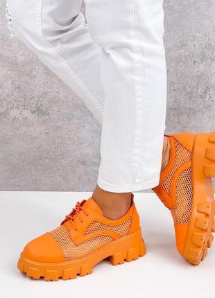 Броги туфли летние сетка и эко кожа оранжевые6 фото