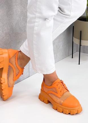 Броги туфли летние сетка и эко кожа оранжевые8 фото