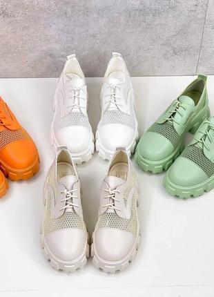 Броги туфли летние сетка и эко кожа оранжевые9 фото
