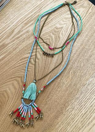 Ожерелье бохо из бисера bershka