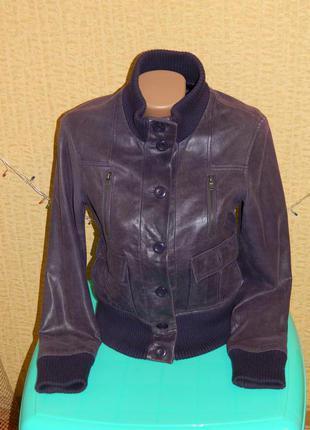 Демисезонная женская куртка фиолетовая натуральная кожа р. 42-44 castro concept