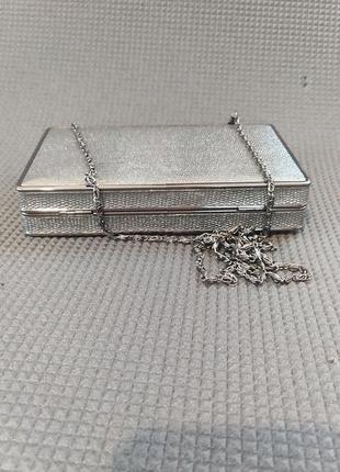 Клатч коробка, клатч бокс, вечерняя сумочка серебро, малкнькая сумка5 фото