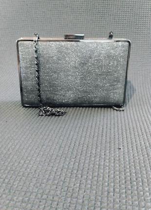 Клатч коробка, клатч бокс, вечерняя сумочка серебро, малкнькая сумка3 фото