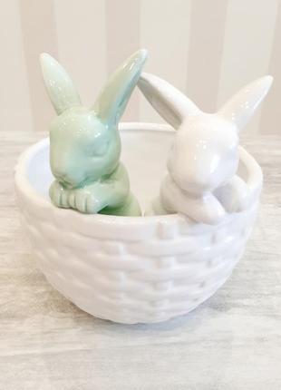 """Кашпо """"кролики в корзине"""""""