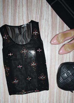 Актуальный шифоновый топ вышивка бисером кресты №53  new look