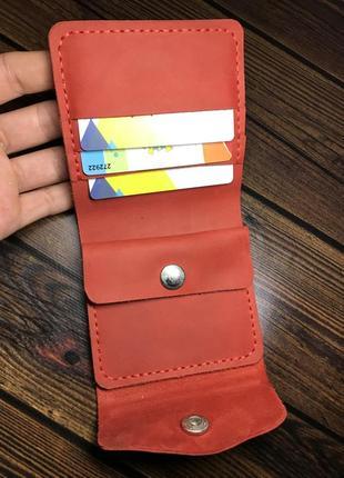 Женский кожаный кошелёк красный