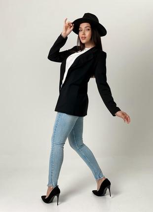 Легкий женский пиджак, черный2 фото