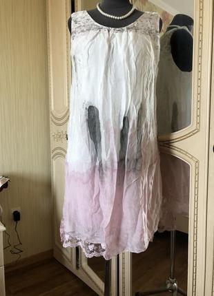 Воздушное шелковое платье натуральный шёлк шелк, кружево, белое розовое