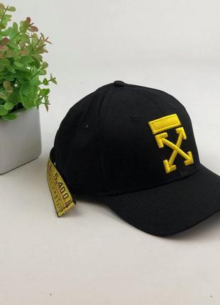 Кепка бейсболка мужская женская off white офф вайт belt с поясом черная с золотым лого