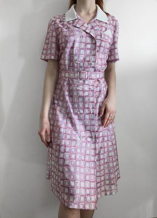 Двубортное винтажное платье с поясом и жемчужными пуговицами berkertex винтаж