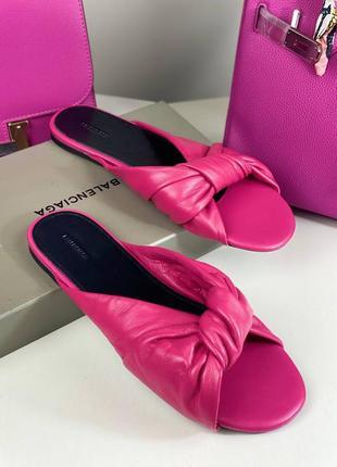 Шлепанцы женские кожаные розовые брендовые люкс
