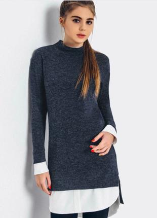 Удлиненный джемпер с имитацией рубашки