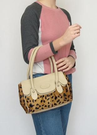 Кожаная сумка, marks & spencer, натуральная кожа, мех.