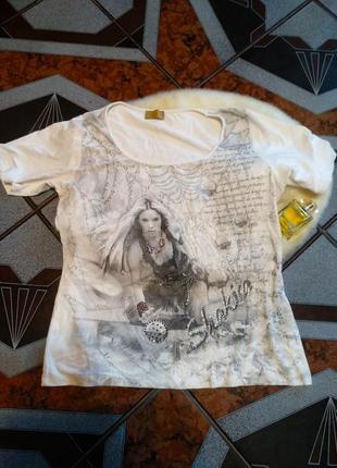 Стильная брендовая натуральная футболка шакира стразы,ра l xl xxl