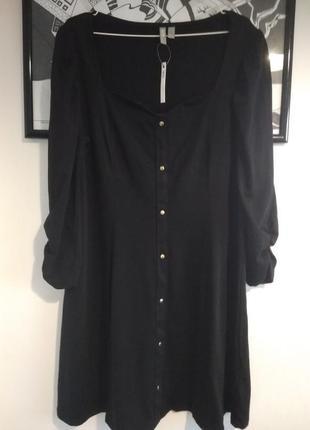 Батал платье трикотажное приталенное черное