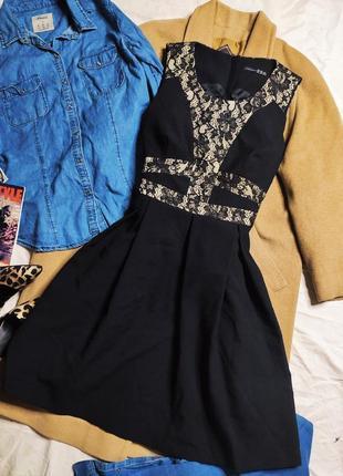 Атмосфера платье чёрное бежевое с гипюром нарядное классическое