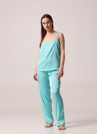 Пижама женская (топ+брюки) эко-шелк тиффани