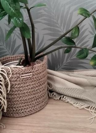 Плетеная корзина, кашпо для цветов из джута