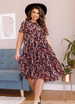Воздушное шифоновое платье-сарафан размеры 50/52/54/56/58/60/62/64 (8620)