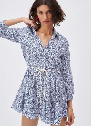 Короткое платье с поясом zara