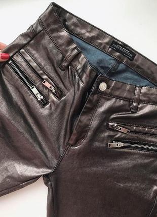 Ультрамодные штаны джинсы брюки серебристые золотистые бронзовые металик
