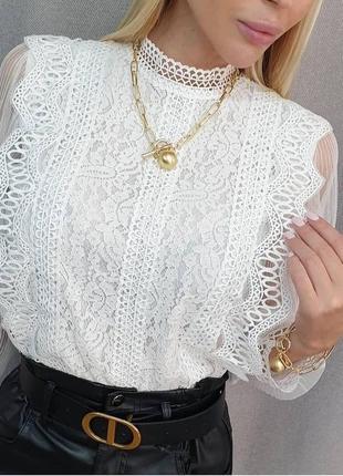Невероятная кружевная блузка (чёрный, белый молочный)