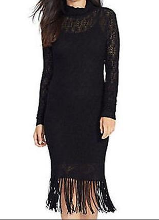 Ralph lauren платье нарядное ажурное миди 100% кашемир s-xs