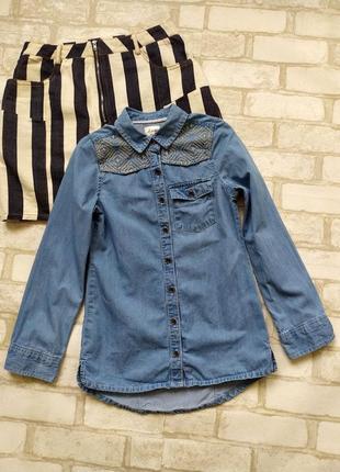 Джинсовая рубашка на девочку matalan
