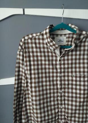Мужская красивая рубашка в клетку от lacoste