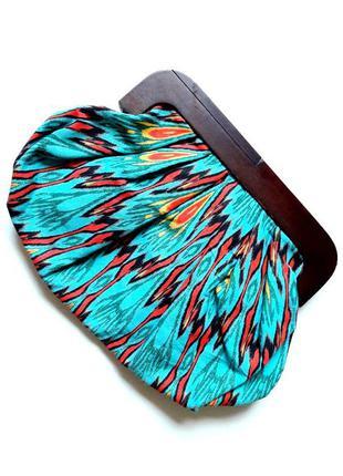 Красивый модный разноцветный клатч из натурального красного дерева (сумка) от atmosphere