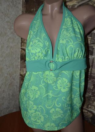 Пляжный комплект  зеленого цвета в салатовый цветочный принт